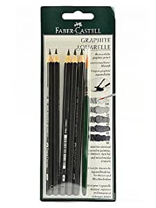 Faber-Castell Graphite Aquarelle Water-soluble Pencils assorted set of 5 with brush [PACK OF 2 ]