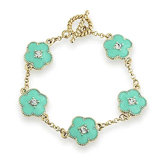 Bling Jewelry Crystal Blue Enamel Clover Flower Link Bracelet Gold Plated
