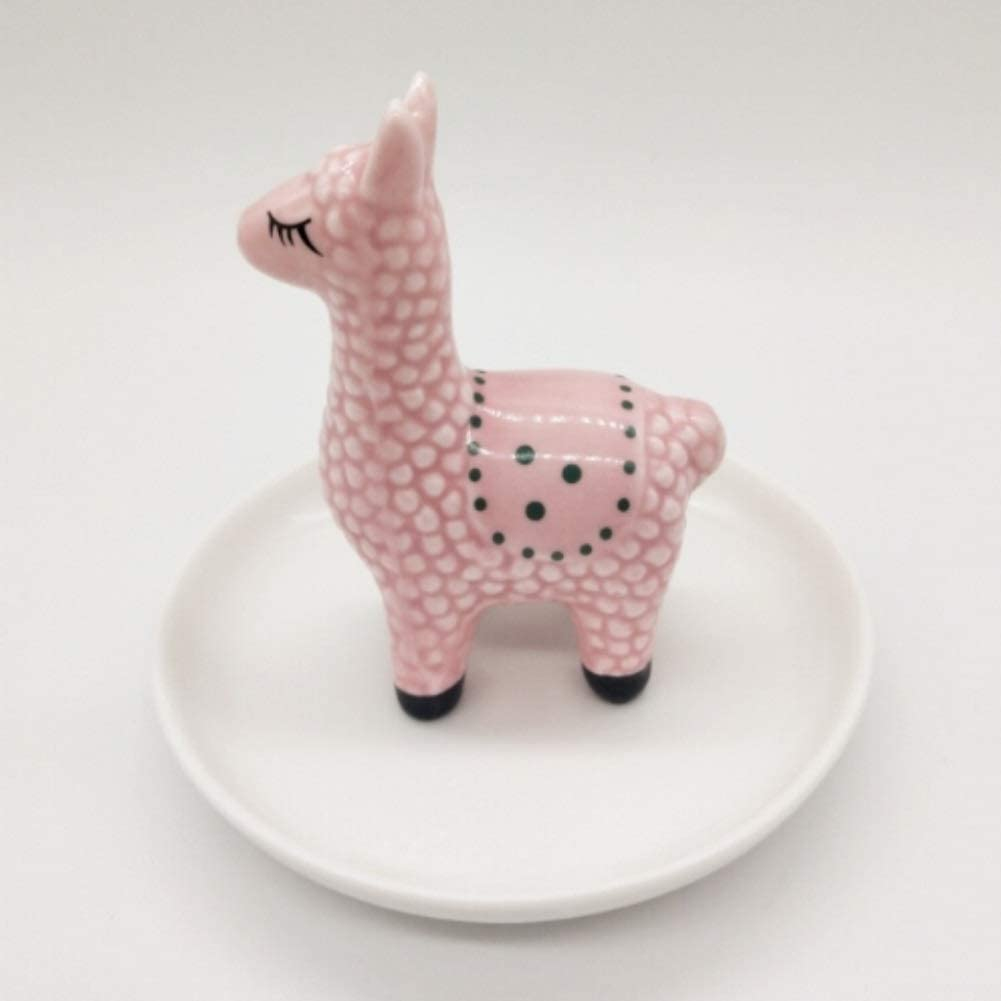 CheeseandU Ceramics Alpaca Jewelry Tray Ring Holder Cute Elegant Llama Organizer Jewelry Display Holder Ornament Engagement Wedding Rings Holder Stand for Couples Lovers Friends Gift (Pink Alpaca)