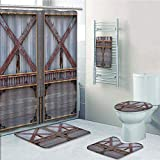 Bathroom 5 Piece Set Shower Curtain 3D Print Customized,Industrial,Zinc Style Wooden Gate Image Street Construction Window Covered with Plank Image Decorative,Brown Grey,Graph Customizatio