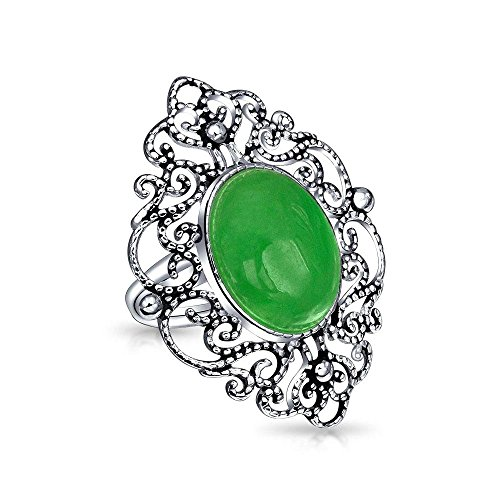- Vintage Style Oval Dyed Green Jade Armor Full Finger Filigree Statement Ring For Women Oxidized 925 Sterling Silver