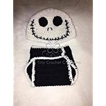 Crocheted Handmade Baby Newborn Disney Nightmare Before Christmas Jack Skellington-Inspired Outfit - Halloween Costume - Baby Shower Gift - Photo Prop - Hat - Diaper Cover - Baby Clothes - Baby Outfit