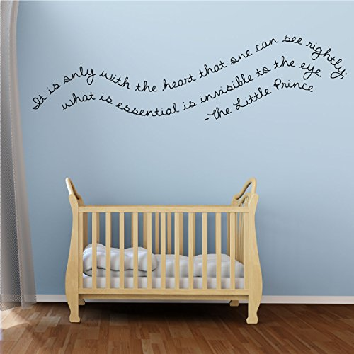 Nursery Wall Decal - IT Is Only With The Heart - The Little Prince Vinyl Wall Decor for Baby's Room, Bedroom or Play Room.