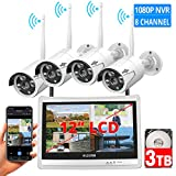 [8CH Expandable] All in one with 12' LCD Monitor Wireless Security Camera System, Home Business 8CH 1080P NVR Kit 4pcs 2MP Outdoor Bullet IP Cameras 65ft Night Vision Waterproof,3TB Hard Drive