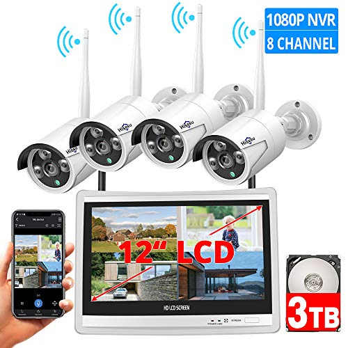 [8CH Expandable] All in one with 12″ LCD Monitor Wireless Security Camera System, Home Business 8CH 1080P NVR Kit 4pcs 2MP Outdoor Bullet IP Cameras 65ft Night Vision Waterproof,3TB Hard Drive
