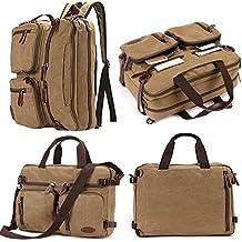 Laptop Backpack,Hybrid Multifunction Briefcase Messenger Bag with Shoulder Strap Canvas BookBag for Men,Women,College Students
