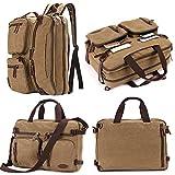 14 inch 15.6 inch Laptop Bag,Sheng TS Hybrid Multifunction Messenger Bag Convertible Laptop Rucksack BookBag Canvas for Men,Women,College Students (Vintage Khaki Canvas, 15.6 inch)