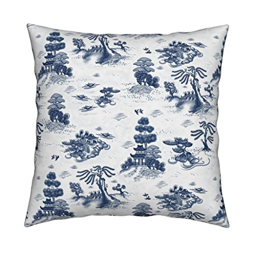 Roostery Blue Willow Toile Eco Canvas Throw Pillow Blue Willow Toile Temple Trees Bird Garden Asian Temple Trees Toile Willow by Juliamonroe Cover and Insert Included