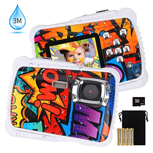 [2019 Newest Kids Camera] Kids Waterproof Camera, DECOMEN Digital Underwater Camera for Boys and Girls, 12MP HD Action Sport Camcorder with 2.0