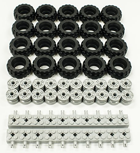 NEW Lego 37 X 18 Tire, Wheel and Brick Axles Bulk Lot - 60 Pieces Total