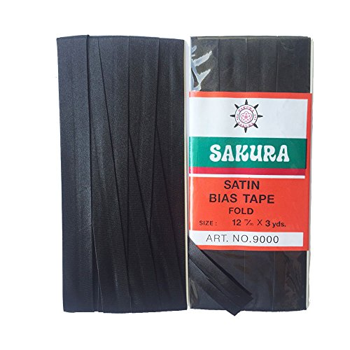 Black Bias Tape (Sakura Satin Bias Tape Fold - Single Fold # Black Color 12 Mm. (3 Yards / Pack) Set of 4)