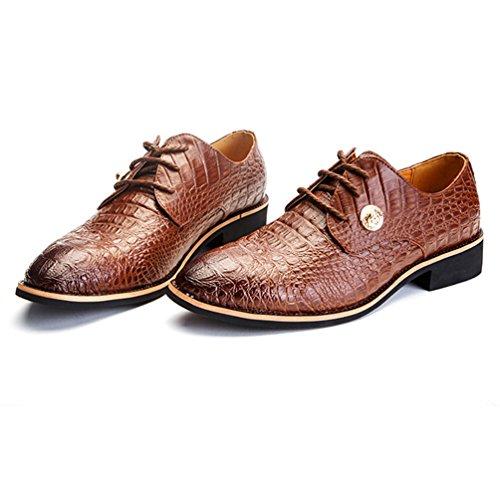 Feidaeu Derby Homme Soulier Faux PU Cuir Croco Transparent Business Luxueux Délicat Bout Pointu Mode Commercial Chaussures Lacet Brun RWL5r