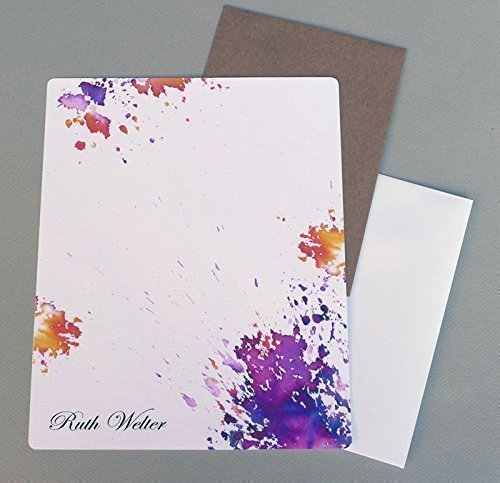 Complete Women's Monogrammed Writing Paper Stationary Set, Sunburst Orange & Purple Watercolor Splash Personalized Stationery, Abstract Contemporary Letter Writing Kit, Monogram Sheets (Set Sunburst Sheet)
