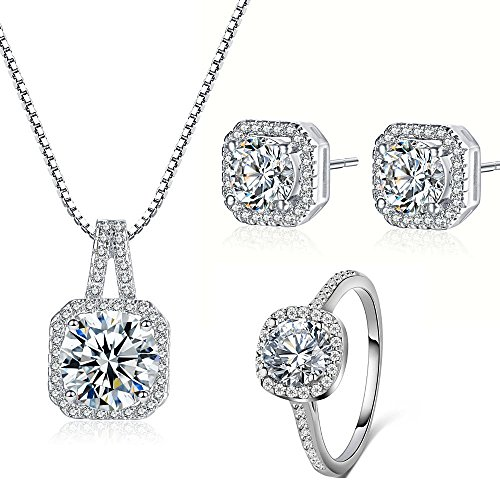925 Silver Necklace Earrings Halo Cushion Cut Ring Size 7 Bridal Engagement Jewelry Set For Women Prime Gift