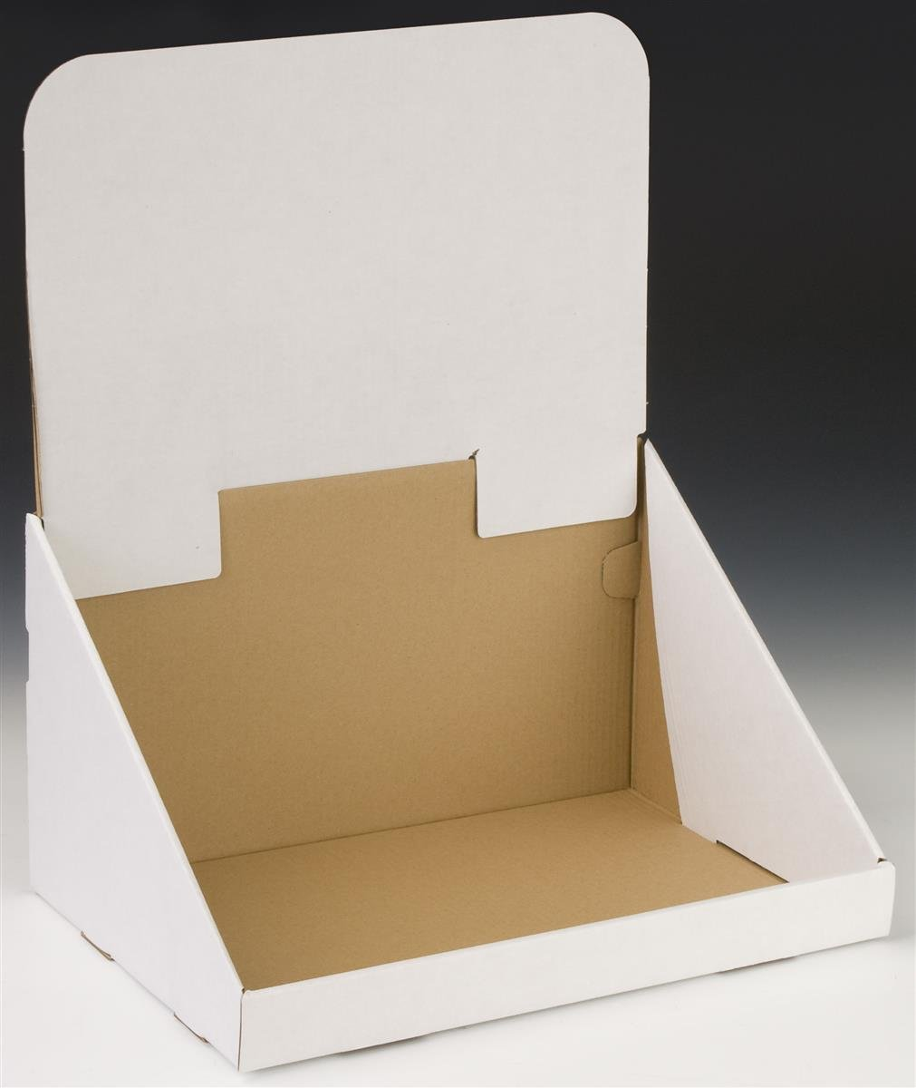 Set of 20, White Countertop Bin Display with Removable Header, Single Compartment - Corrugated Cardboard