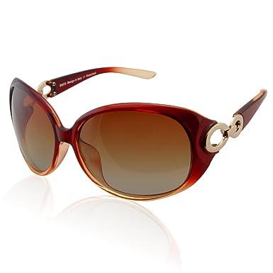 Duco Klassische Damen Sonnenbrille Polarisiert Modische 100% UV-Schutz 6214 (Weinrot) MXhCDlOxH