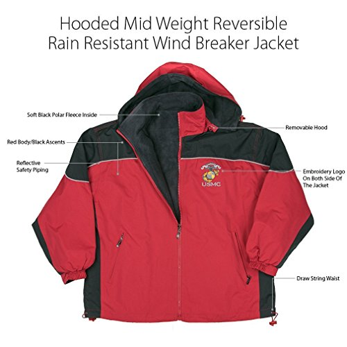Ascent Jacket (Marine Corps, USMC Jacket Hooded Mid Weight Reversible Rain Resistant Windbreaker Jacket Royal Blue Body Black Ascents, Soft Black Polar Fleece Inside With Reflect-Able Safety Piping And Removable Hood, Embroidery Logo On Both Side Of The Jacket With Draw Sting Waist XXX-Large Red)