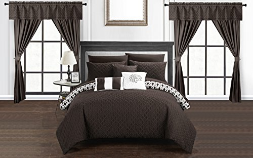 Chic Home Sigal 20 Piece Comforter Set Reversible Geometric Quilted Design Complete Bed in a Bag Bedding - Sheets Decorative Pillows Shams Window Treatments Curtains Included Queen Brown (Sham Curtain)