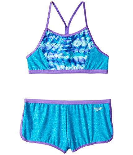 Speedo Rhythmic Tie Dye Boyshort Two Piece Swimsuit, Cyan, Size - Piece Two Swimsuits Practice