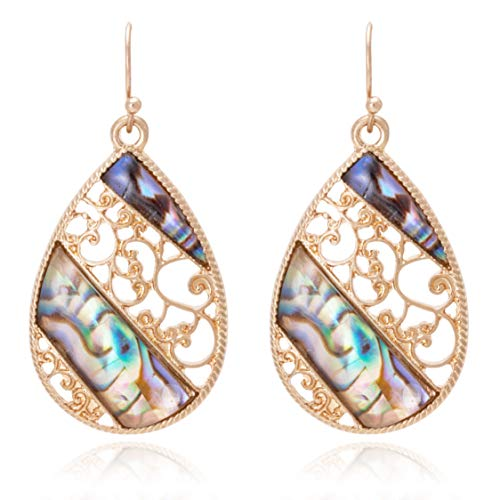 - Boho filigree with Iridescent Shell Mixed Oblique Line Design Tear Drop Earrings