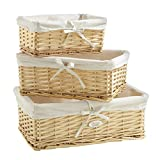 VonHaus Set of 3 Natural Willow Wicker Rattan Baskets with Removable Washable White Liners - Wicker Storage Containers for the Home & Bathroom