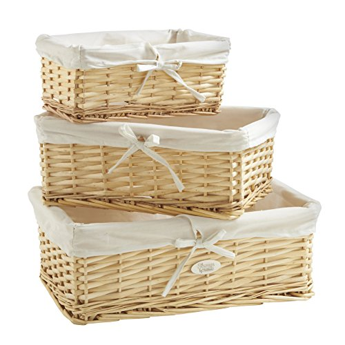 Large Natural Wicker - VonHaus Set of 3 Natural Wicker Baskets with Removable Washable White Liners - Wicker Storage Containers for Home and Bathroom Organization