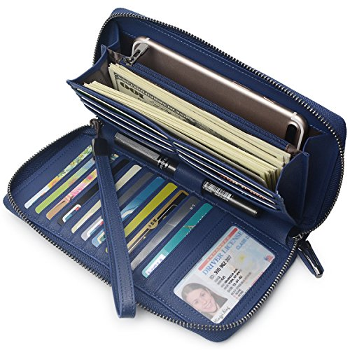 Women RFID Blocking Wallet Leather Zip Around Clutch Large Travel Purse Wrist Strap (Navy Bllue)