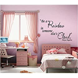 Quote It! - Maya Angelou Be a Rainbow Inspirational Quote Saying Quotes Home Decor Wall Sticker Decal Transfer Vinyl Wall Decal Vinyl Stickers Love Romance Family