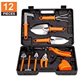 LELEKEY Garden Tool Set,12 Piece Stainless Steel Heavy Duty Gardening Kit with Carrying Case,Ergonomic Handle Shovels,Rakes,Pruning Shears,Sprayer,Garden Gifts for Men & Women (Orange)