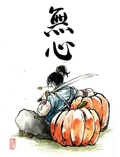 8x10 PRINT of Samurai with pumpkins Japanese Calligraphy