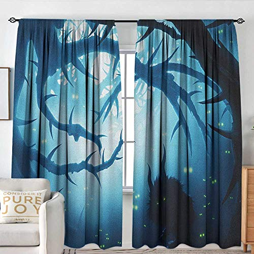 Petpany Kitchen Curtains Mystic,Animal with Burning Eyes in The Dark Forest at Night Horror Halloween Illustration, Navy White,Rod Pocket Curtains for Big Windows 72