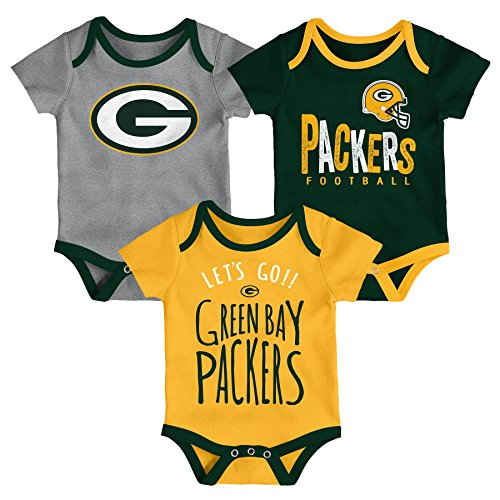 NFL by Outerstuff NFL Green Bay Packers Newborn & Infant Little Tailgater Short Sleeve Bodysuit Set Hunter Green, 18 Months by NFL by Outerstuff