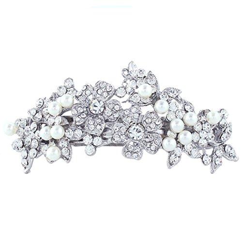 EVER FAITH Bridal Silver-Tone Flower Simulated Pearl Hair Barrette Clear Austrian - Pearl Clip Tone