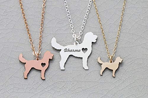 - Goldendoodle Necklace - Golden Poo Doodle Poodle - IBD - Personalize with Name or Date - Choose Chain Length - Pendant Size Options - 935 Sterling Silver 14K Rose Gold Filled Charm