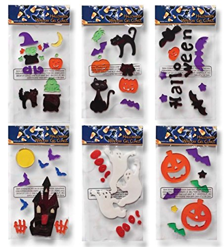 6 halloween window gel clings pumpkins bats ghosts witch black cats haunted house more - Halloween Window Clings