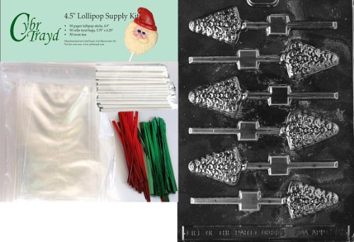 Cybrtrayd 45stK50C-C082 Tree Lolly Christmas Chocolate Mold with Lollipop Kit and Molding Instructions, Small, Includes 50 Lollipop Sticks, 50 Cello Bags, 25 Red and 25 Green Twist Ties ()