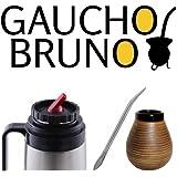 Yerba Mate Ceramic cup, Bombilla and Flask Gaucho Bruno with Precision Pour Spout