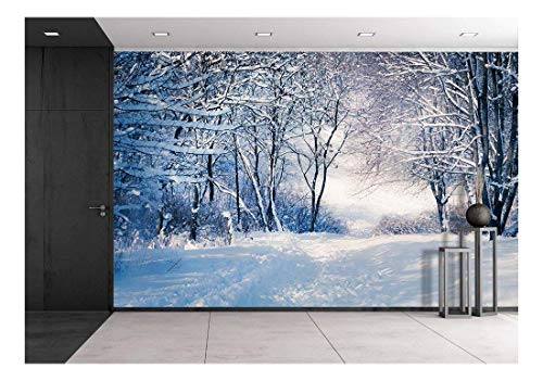 wall26 - Winter Landscape in Snow Forest. Alley in Snowy Forest - Removable Wall Mural | Self-Adhesive Large Wallpaper - 66x96 inches (Removable Panel)