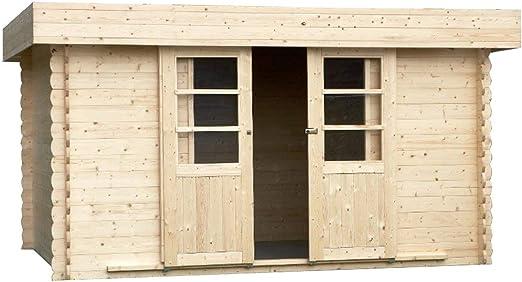 Alpholz EVERE - Caseta de jardín de madera de abeto con tejado de cartón natural, sin tratamiento de color (330 x 270 cm): Amazon.es: Jardín