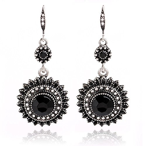 Women Girl Silver Plated Synthetic Turquoise Full Prong Cubic Zirconia Blooming Flower Bridal Stud Hoop Hook Dangle Earrings