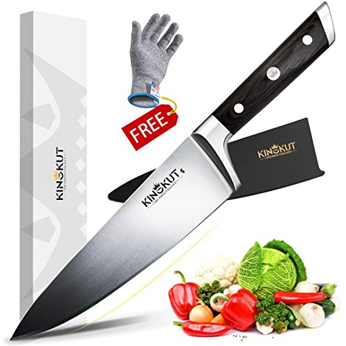 KingKut Chef Knife, Professional 8-inch Kitchen Knife W/Sheath, Forged of Top-Grade German Steel (X50CrMoV15), Ergonomic Wooden Handle, Perfect Balance, Include Anti-Cut Glove