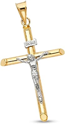 "Simple Cross 14K Solid Two Tone Gold Jesus INRI Crucifix Charm 1.7/"" Pendant"