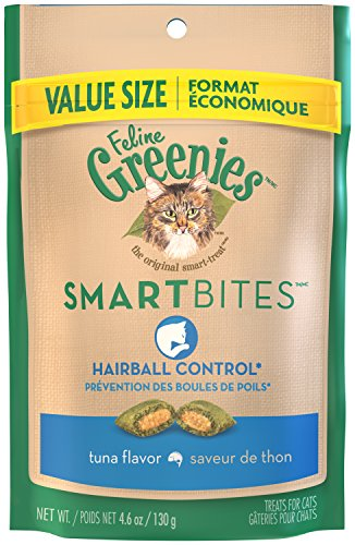 FELINE GREENIES SMARTBITES Hairball Control Tuna Flavor Cat Treats 4.6 Ounces (Pack of 10)
