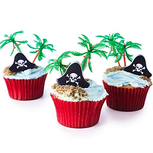 24 Pirate Cupcake Picks Kit - Pirate Hat Topper Rings, Palm Tree Novelties, Red Baking Cups -