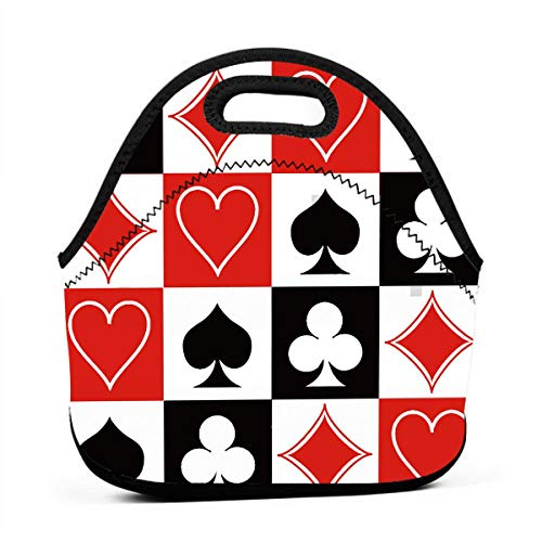 Lunch Tote Soft & Lightweight Lunch Box, Grid Poker Playing Cards Thermal Snacks Food Carry Case, Insulated Neoprene Lunch Tote Carrying for School Office Work for Kids and Adults ()