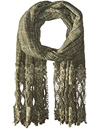 Women's Texture Scarf With Crochet Lace Trim