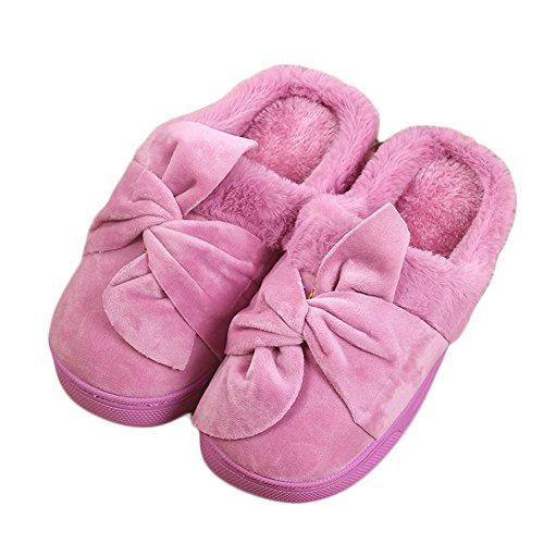 Cybling Dames Winter Pluche Pantoffels Confortable Indoor Huis Schoenen Zachte Zool Paars