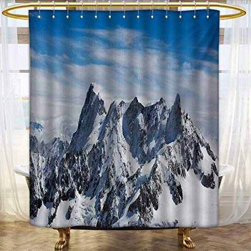 lacencn Landscape,Shower Curtains with Shower Hooks,Picturesque Mont Blanc Cliff to Clouds Idyllic Environment Trekking Landmark,Satin Fabric Sets Bathroom,White Blue,Size:W60 x L72 inch