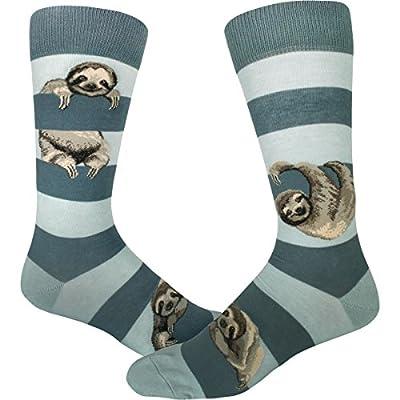 Modsocks Men'S Sloth Stripe Crew Socks (Fits Most Men Shoe Size 8-13) -