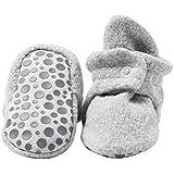 Zutano Cozie Fleece Baby Booties with Grippers 18M (12-18 Months), Heather Gray